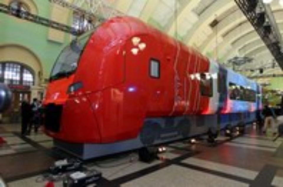 "Full-scale model of the ""Lastochka"" leading car. Photograph provided by Russian Railways."